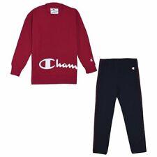 Champion Kids Girls Tracksuit Cotton Set Crewneck Hoodie Black Pant 404281-RS061