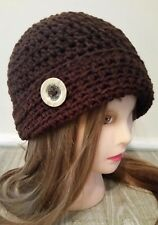 Brown button cloche hat crochet womans hand made new beanie