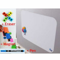 A4 Flexible Fridge Magnetic Whiteboard Memo Reminder Board w/ Pen Eraser Magnet