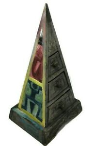 Vintage Wooden Chests of Drawers Large Engraved Pyramid Antique Painted Decor