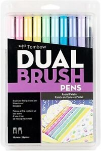 Tombow Dual Brush Pen Art Markers 10-Pack, Pastel Palette *New Sealed Package*