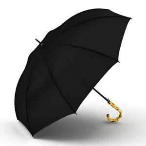 Big Bamboo Umbrella Rain 8K Windproof Semi Automatic Long Handle Men Women