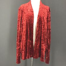 YON HUI Jacket L Red Crushed Velvet Velour Boutique Blazer Christmas