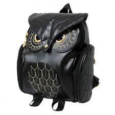 Female Girls Casual Embossed Owl Backpack Shoulder Schoolbag Travel Rucksack Bag