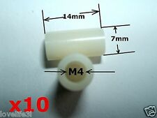 20 NYLON PLASTIC WASHER SPACER M4 NON-THREADED HOLE 7mm OUTER 14mm LONG STANDOFF