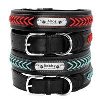 Personalisiert Hundehalsband Echtes Leder Geflochten mit Namen für Große Hunde