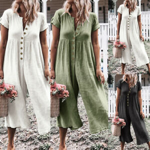 Women Summer Plus Size Front Button Overalls Jumpsuit Dungarees Wide Leg Rompers