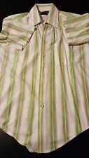 Vintage 70s Van Heusen Sportswear Green White Polyester Pocket Shirt Disco Party