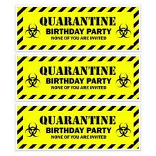 X 2 QUARANTINE LOCKDOWN BLACK YELLOW BIRTHDAY PARTY BANNER KIDS