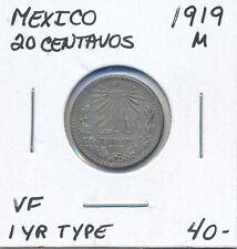 MEXICO  20 CENTAVOS 1919 M 1 YEAR TYPE  -  VF