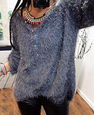Zottel Pulli L 42 Blau Strick Pullover Italy Blogger TREND Boyfriend Chic  Neu 40 9e57f7046e