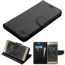 For Sony Ericsson Xperia XZ Premium Black Pattern/Black Liner Flip Wallet Case
