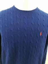 Polo Ralph Lauren Mens L 100% Lambs Wool Royal Blue Red Pony Cable Knit Sweater
