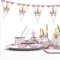 Children Kids Unicorn Theme Birthday Party Supplies Favor Tableware Decor OO