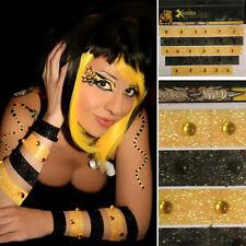 Yellow/Black Bumble Bee Stripes Costume Body Sticker Makeup Rhinestone Glitter
