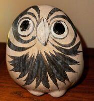 Vintage Mexico Tonala Folk Art Pottery Hand Painted Large Owl Figurine