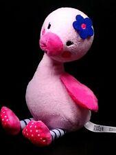 "Carter's Baby Bird Plush 6"" Pink Stuffed Animal / Blue Flower/ Blue & White Legs"