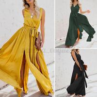 ZANZEA Women Full Length Flare Sleeveless Side Slit Maxi Sundress Long Dress
