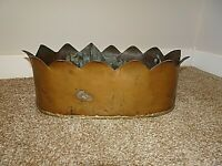 Antique Large Oval Solid Brass Planter with Crown Shaped Top (Decorative Flower)