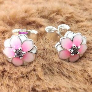 925 Sterling Silver Magnolia Bloom Pale Cerise Enamel Pink CZ Studs Earrings