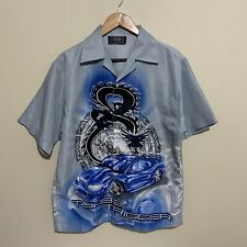 Dragon Flames Turbo Trigger Drift Car Button Shirt Vintage 90's Mens Small