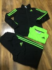 Adidas Boys/Girls Black With Neon Stripes Tracksuit Aged 9-10 Years Old