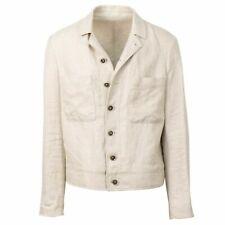 NWT CARUSO Beige Linen Herringbone Jacket Coat 50/40
