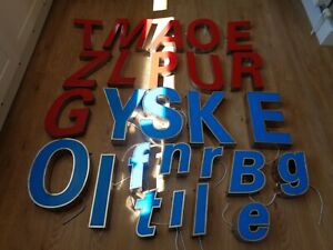 Reclaimed Large 3D Shop Front Industrial Red Blue Metal Light up Letters