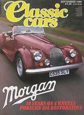 Classic Cars magazine 09/1986 featuring Reliant Scimitar, Morgan Plus 8, Porsche
