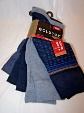 GOLD TOE Men's Dress Socks 4 PAIR Package Foulard Neat Blues & Greys