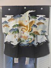 """JK 211 """"Two Cranes"""" Vintage Silk Japanese Boy's Kimono"""