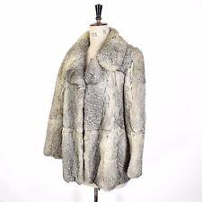 Women's Grey VINTAGE Glam REAL CONEY RABBIT FUR Diva Glam Party Coat Jacket 12