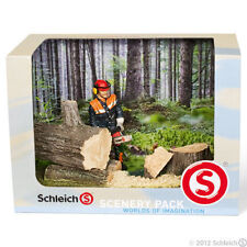 *NEW* SCHLEICH 41806 Forestry Scenery Pack - Forest Worker with Chain Saw & Logs