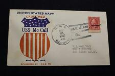 NAVAL COVER 1937 SHIP CANCEL LAUNCHING USS Mc CALL (DD-400) (323)