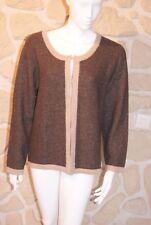 Gilet/cardigan marron taille 3/4 marque Soie pour Soi étiqueté à 59,95€ (ch)