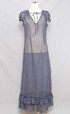 Olsenboye Size L Sheer Navy Blue Floral Print Cap Sleeve Maxi Dress 463 L315