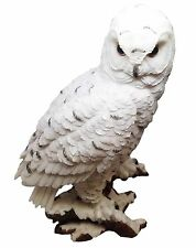 WHITE SNOW OWL MYSTERIOUS NOCTURNAL BIRD SCULPTURE STATUE FIGURINE