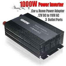 1000W Car Power Inverter DC 12V To 110V AC Charger Power Supply Adapter 3 Ports