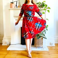 Vintage 80s Red Abstract Patterned Indie Print Dress Size M 12 14
