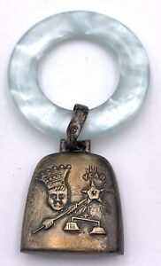 Antique Sterling Silver Birth Record Mother of Pearl Rattle