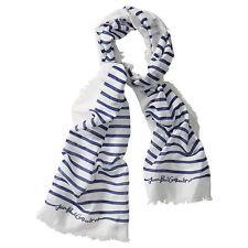 BNWOT Jean Paul Gaultier Blue & White Striped Scarf @ NEW Silk / Cotton JPG