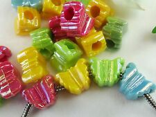 100 pc Iridescent Colors Butterfly Acrylic Pony Beads European Jewelry Crafts