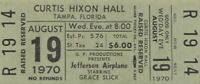 JEFFERSON AIRPLANE / GRACE SLICK 1970 TOUR UNUSED TAMPA CONCERT TICKET / NM 2 MT