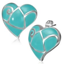 Stainless Steel Blue Silver-Tone Love Heart-Shaped Womens Girls Stud Earrings