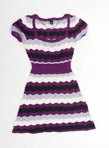 H&M Womens Size XS Striped Cotton Blend Purple Dress (Regular)