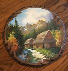 Hand Painted Wood Vintage knot round unique outdoor scenery