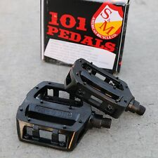 "S&M BMX BIKE 101 METAL BICYCLE BLACK PEDALS 9/16"" PRIMO CULT SUNDAY FIT ODYSSEY"