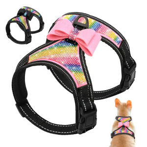 Bling Dog Harness with Cute Bow Tie Full Rhinestone Diamond Reflective Puppy Cat