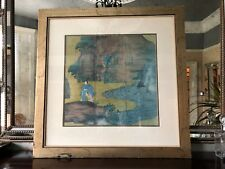 Vintage Lithograph Print after a Japanese Screen, Nanban Art, Hand Embellished
