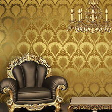 Vinyl Gold Metallic Damask Wallpaper Shiny GlitteTextured for living room decor